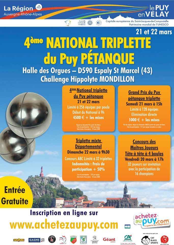 Calendrier Nationaux Petanque 2022 Le Puy mars 2020